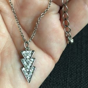Jewelry - Silver and rhinestone pendant necklace